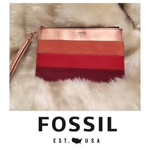 Fossil Leather and Suede Striped Wristlet